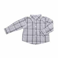 Camisa para bebe niño, de cuadros en tonos de grises claro y oscuro. Un bolsillo al frente del lado izquierdo, con la coronita de EPK bordada en gris claro. Baby Boy Fashion, Button Down Shirt, Men Casual, Boys, Mens Tops, Shirts, Little Girl Clothing, Dark, Pockets