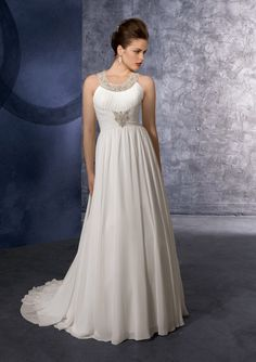 This  goddess wedding dress style is a favorite for some second time brides and mature brides because it makes a flattering look, especially if you want to hide the stomach area