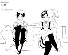 Cute Eren x Levi gif