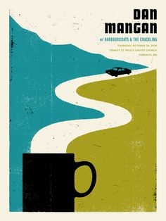 Silkscreened style poster. Minimalist. Vintage colors. Great use of negative space.