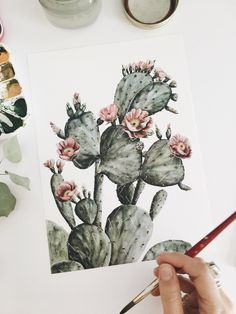 Pink Flowering Prickly Pear Cacti Watercolor Print — Succulents & desert plants — Original artwork by Shealeen Louise — Botanical artist & designer — Painted in 2017 in Nashville, TN — Ships anywhere — View my shop to see lots more floral & botanical watercolor prints and originals, as well as tapestries, pillows, travel mugs, phone cases, framed artwork for your gallery wall + more! Head over to get a free cactus lock screen on my website as well. Painted with Winsor & Newton paints