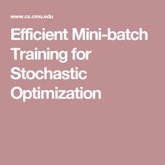 Efficient Mini-batch Training for Stochastic Optimization