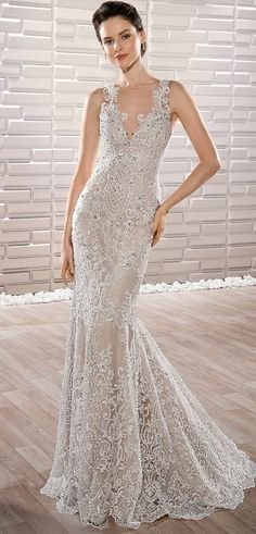 Demetrios 2017 stunning lace adorned sleeveless V-neck Sheath gown with Sweep train