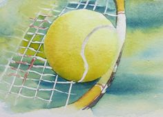 Tennis Party, Play Tennis, Simple Acrylic Paintings, Watercolor Paintings, Watercolors, Tennis Wallpaper, Vintage Tennis, Tennis Quotes, Sports Art