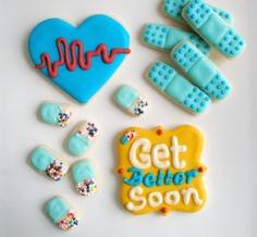 Get well soon, Feel better cookie set. $39.99, via Etsy.