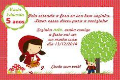 Baixe grátis o convite de aniversário Chapeuzinho Vermelho no Photoshop para customização.