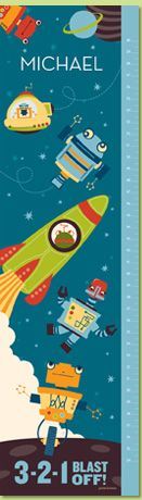 Blast Off Cosmic Blue Personalized Growth Chart by Petite Lemon Prints.  Love this one too!