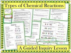 This guided inquiry lesson enables students to construct their own understanding of how to identify the following types of reactions: synthesis, decomposition, single replacement, double replacement, and combustion. Students also discover how to use an activity series to determine whether a single replacement reaction will occur. Students are able to actively learn the material without lecture or note taking.