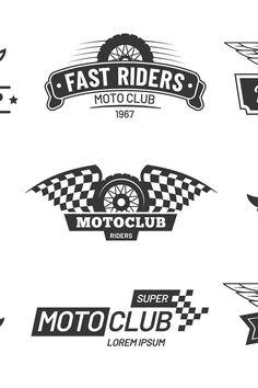 Biker club emblems. Retro motorcycle rider badges, moto spor (1000379)   Logos   Design Bundles
