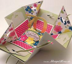 Stampin' Up! - Stempelherz - Explosion Box - Karte - Box - Geburtstagskarte - Naturnah - Stanze Kleine Blüte - Designerpapier Gartenparty - ...