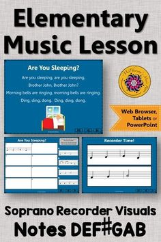Looking for recorder music and an elementary music lesson? This is perfect for your music lesson plans working with with soprano recorders and notes GABCD! Your students will LOVE these interactive visuals! Music Classroom, Music Teachers, Music Education Activities, Elementary Music Lessons, Music Lesson Plans, Recorder Music, Teaching Music, Students, Songs