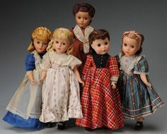 """Set of 5 Madame Alexander """"Little Women"""" Dolls. I have a new set to display whenever I get my cabinet to display all of my dolls in."""
