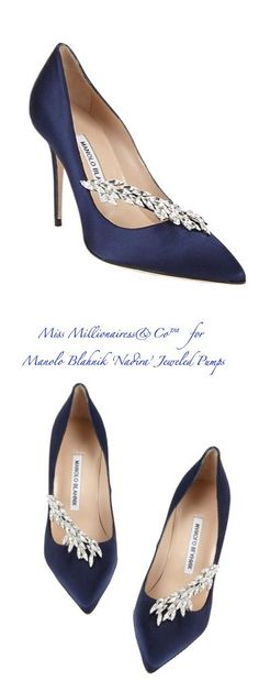 Wow. Will never own these, but SO PRETTY!! Manolo Blahnik~ 'Nadira' Jeweled Pumps, Royal Purple 2015 #manoloblahnikheelsblue