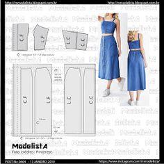 Dress Patterns, Sewing Patterns, Pattern Dress, Modelista, Button Up Skirts, Pattern Drafting, Pattern Fashion, Beauty Skin, Ideias Fashion