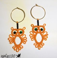 Would be so cute to sew on as an applique. Tatting Little owl earrings (pattern is in first post, but I had to ind one with a picture for it to post, also, there is a modification to the pattern a few pages in).