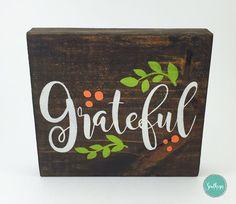 Fall Block Sign - Grateful Sign, Fall Decor,  Autumn Decor, Thanksgiving Sign…