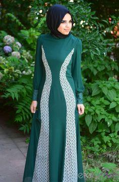 Tesettür Elbise FY 52054-11 Yeşil