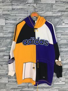 Excited to share this item from my shop: Vintage ADIDAS Trefoil Hoodie Sweatshirt Large Adidas Big Logo Colorblock Hip Hop Streetwear Adidas Run Dmc Pullover Sweater Size L Hip Hop Outfits, Hipster Outfits, Dope Outfits, Adidas Trefoil Hoodie, Adidas Hoodie, Run Dmc, Adidas Three Stripes, Japanese Denim, Striped Jeans