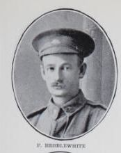 HEBBLEWHITE,   Frank.   Private,   No.   2352,  9th   Battalion.   Born   and   educated   at   Maryborough.   The   son   of   the   late   Charles   Hebblewhite   and   Betsy   Hebblewhite   (now   Mrs.   H.     Scotney)   Nikenbah.