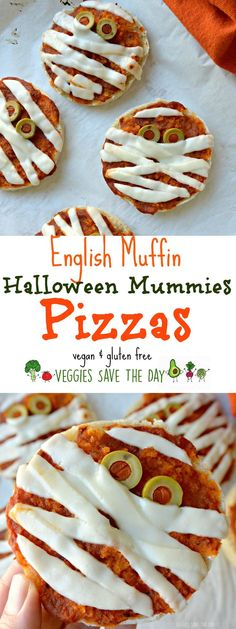 English Muffin Pizzas (Vegan) These English Muffin Pizzas are vegan and gluten free. Turn them into mini…These English Muffin Pizzas are vegan and gluten free. Fall Recipes, Holiday Recipes, Vegan Recipes, Simple Recipes, Steak Recipes, Vegan Food, Cooking Recipes, Halloween Saludable, English Muffin Pizza