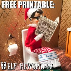 Silly Elf on the shelf Idea & Free Printable: Elf Bathroom Break. To view more pins like this one, search for Pinterest user amywelsh18.
