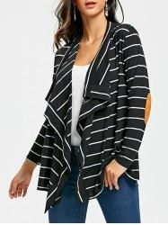 #Gamiss - #Gamiss Elbow Patch Striped Cardigan - AdoreWe.com