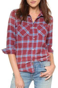 Classic red and blue plaid button up Plaid Flannel, Blue Plaid, Flannel Shirt, Fall Fashion 2016, Autumn Fashion, Tomboy Fashion, Tomboy Style, Cut Shirts, Style Guides