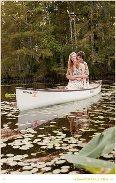 Canoe Engagements. Lily pads and water reflections. Outdoor fun!