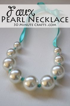Faux Pearl Necklace – made with inexpensive beads and ribbon for a pop of color. No fancy jewelry making tools needed! Faux Pearl Necklace – made with inexpensive beads and ribbon for a pop of color…. Crystal Jewelry, Beaded Jewelry, Jewelry Necklaces, Handmade Jewelry, Pearl Necklaces, Silver Jewelry, Necklace Ideas, Pearl Bracelets, Pearl Rings