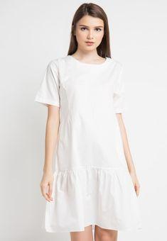 Mineola Ruffle Dress White