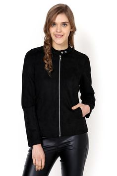 Black Plain Jacket - Jackets - Western - Lakshita Smart Jackets, Stylish Boots, Winter Looks, Polyester Spandex, Bomber Jacket, Winter Jackets, Collection, Black, Style