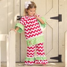 Red Chevron Lime Dot Ruffle Pant Set