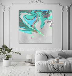 Abstract Seascape, White Turquoise Siver Green, Canvas Art Print, Modern Home Decor, Diptych Part 2 Green Canvas Art, Abstract Canvas Art, Abstract Watercolor, Canvas Art Prints, Large Scale Art, Large Art, Minimalist Painting, Minimalist Art, Easy Frame