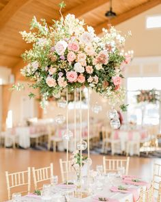 Pink Seaside Garden Wedding with at Bonnet Island Estate – Wedding Centerpieces Garden Wedding Centerpieces, Lantern Centerpiece Wedding, Rose Centerpieces, Wedding Flower Decorations, Wedding Flower Arrangements, Centerpiece Ideas, Lantern Wedding, Tall Centerpiece, Floral Arrangements