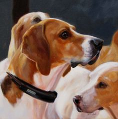 """The Hound, 12"""" x 12"""", oil on canvas.  Copyright Janet Crawford."""