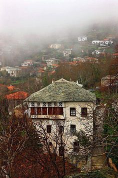 """Traditional architecture of Pelion mountain"" by Hercules Milas Places In Greece, Thessaloniki, Grand Tour, Greece Travel, Historical Sites, Landscape Architecture, Beautiful Places, Scenery, Places To Visit"