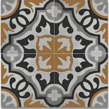 "Moroccan Mosaic Tile House Baha Handmade 8"" x 8"" Cement Field Tile in Black/Yellow/Gray"