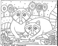 Rug Hook Paper Pattern 2 Raccoons Abstract Folk Art Abstract by Karla G | eBay