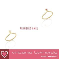Anéis em ouro amarelo 18k com diamante e rodolita