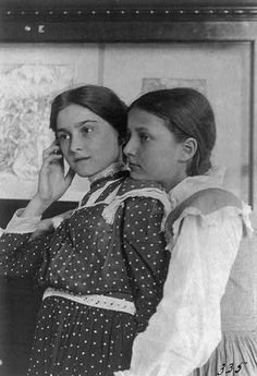 Two girls from a Washington, D.C. school on a class visit to the Library of Congress, 1899    photo by Frances Benjamin Johnston  Source: loc.gov