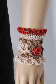 Ivory Beige Orange Crochet Beaded Cuff   Bracelet by lucylev, $40.00