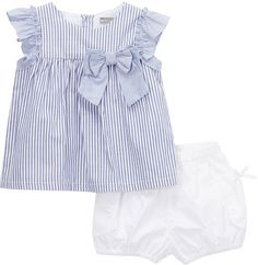 Blue Stripe Swing Top & White Bloomers - Infant & Toddler