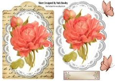 Pretty hand painted peach rose on lace   script on Craftsuprint - View Now!