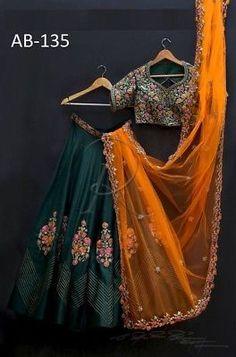 Green lehenga choli with orange dupatta party wear dress bollywood dress indian dress custom stiched dress for womens. Indian Lehenga, Green Lehenga, Silk Lehenga, Indian Gowns, Indian Attire, Black Lehenga, Lehenga Choli Designs, Lehenga Choli Online, Ghagra Choli