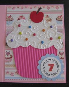 Cupcake Birthday 2014 by Penny Strawberry – Cards and Paper Crafts at Splitcoaststampers - kids cards Girl Birthday Cards, Bday Cards, Handmade Birthday Cards, Greeting Cards Handmade, Scrapbook Birthday Cards, Cricut Birthday Cards, Birthday Cake Card, Embossed Cards, Cricut Cards