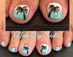 Beach Toe Nails, Summer Toe Nails, Cute Toe Nails, Acrylic Summer Nails Beach, Toe Nail Color, Toe Nail Art, Nail Colors, Beach Nail Designs, Toe Nail Designs