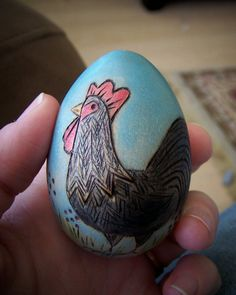 Painted version: Wood Easter egg with woodburned design
