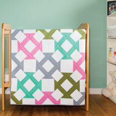 The Churn Dash is one of the most popular traditional quilt blocks. The GO! Churn Dash Baby Quilt adds interest to a traditional block by placing the Churn Dash on point. This classic Block on Board die includes all of the shapes needed to make this quilt. The pattern is included on the packaging of the die GO! Big Churn Dash (55459).Fabric provided by: Robert Kaufman FabricsCompatible with these fabric cutters:GO! Big