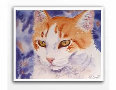 Commission a Portrait Original Watercolor Painting of your Cat Dog Horse or Goldfish. A Personalized Painting from Your Photos. Portrait of 2 Pets