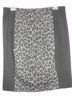 New Chicos Black Gray Animal Print Panel Ponte Royce Fashion Skirt Sz 2.5 L/XL #Chicos #StraightPencil